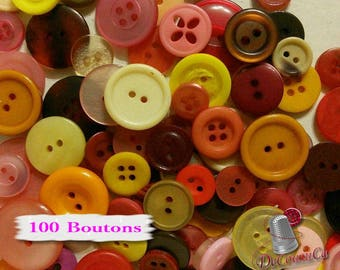100 random buttons, 10mm - 30mm, basic, white, yellow, orange, peach, pink, red, burgundy, beige, brown, photo example, BA100