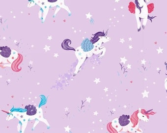 Unicorn, lilas, Unicorn Kisses, 4051, multiple quantity cut in 1 piece, 100% Cotton