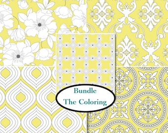 Bundle, 5 prints, The Coloring, Camelot Fabrics, 100% cotton
