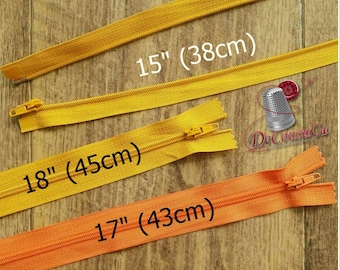 "KKF, DETACHABLE, 15""-18"", (38cm - 45cm), zipper, yellow gold, orange, nylon, for clothing, repair, Z15-18,"