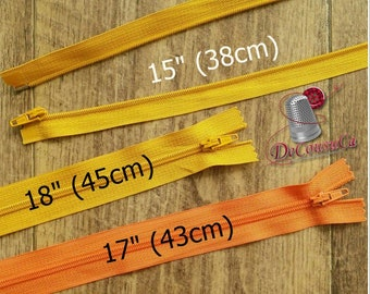 "Zipper, DETACHABLE, 15""-18"", (38cm - 45cm), zipper, yellow gold, orange, nylon, for clothing, repair, Z15-18"