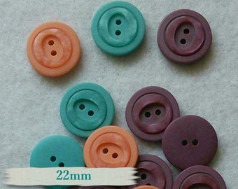 2 buttons, 22mm, 2 holes, mandarine, malachite, orchidée, BM51, (Reg 3.60)