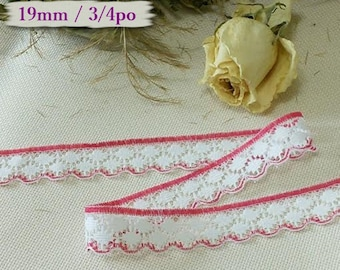5 yards, Lace vintage, 19mm, 3/4 inch, White, red, DT11