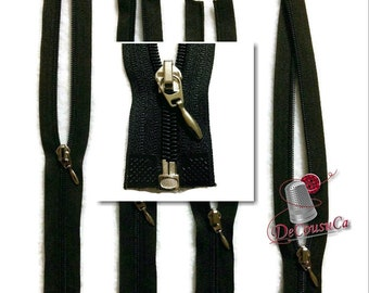 Dark brown, zipper,silver, 25cm à 37cm, ( 10po - 14 1/2po), no7, nylon, ZG3, (Reg 3.59-4.19)