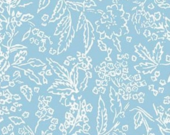 Tropical Foliage, blue, 71180307, col 01, By The Sea, Laura Ashley, Camelot Fabrics, 100% Cotton, (Reg 2.99-17.99)