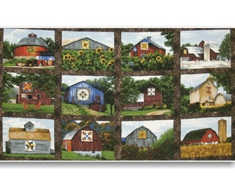 "Panel, Quilt Trail, 24""X44"", (60cmX115cm), Troy Corporation, Riverwoods Collection, Multiple quantity cut in one piece, 100% Cotton"