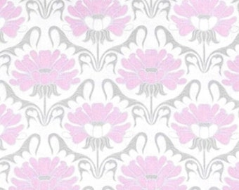 Pink, white, CP52523, Grâce floral, Springs Creative, multiple quantity cut in one piece, 100% Cotton, (Reg 2.99-17.99)