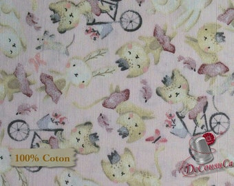 Cat, bike, pink, Édition Fabric, multiple quantity cut in one piece, 100% Cotton