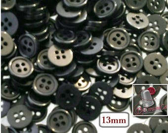 50 Buttons, 13mm, black, 4 holes, vintage button, BA31,  (Valeur de 7.50)