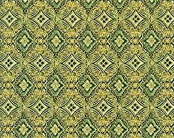 Green, Gold Metallic, 18626, col 15, Robert Kaufman, 100% Cotton