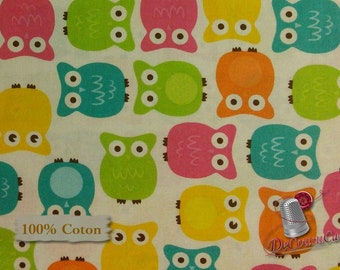 Owl, white, multiple quantity cut in one piece, 100% Cotton