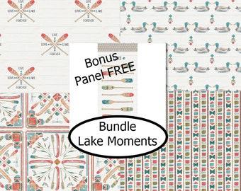 4 prints, Lake Moments, Camelot Fabrics, bundle, 1 of each Bonus: Panel FREE