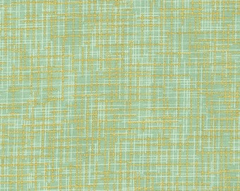 Green, metallic gold, quilter's linen, 14476, col 44, Robert Kaufman, 100% Cotton