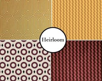 VENTE, 4 prints, Heirloom, Camelot Fabrics, Bundle, 1 of each print, 100% coton