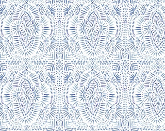 Médaillon, white, blue, 26170108, Indigo Rose, Camelot Fabrics, multiple quantity cut in one piece, 100% Cotton, (Reg 2.99-17.99)
