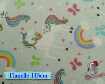 Flannel, Unicorn, rainbow, pale gray background, many yards will be cut as one piece