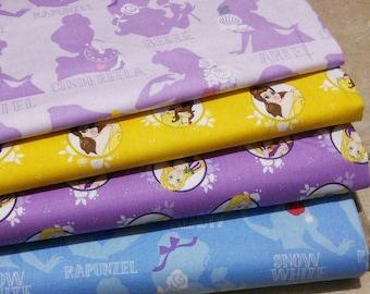Bundle 4 prints, Disney Princess of Camelot Fabrics, Quilt cotton, 1 of each