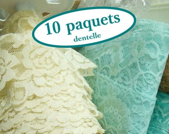 Kit 10 lace, SURPRISE, simple, pleated, decorative, colors and widths varied, 10 different lace, excellent bargain, (Reg 16.50-65.00)