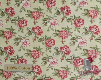 Flower, red, beige, Mississippi, 26851, Washington Street Studio, multiple quantity cut in one piece, 100% Cotton, (Reg 2.39-17.29)