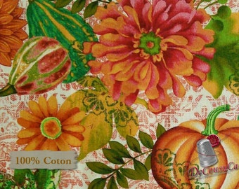 Pumpkin, Flowers, Fall, Fall Festival, Studio e, 4266, multiple quantity cut in one piece, 100% Cotton, (Reg 3.99 - 17.99)