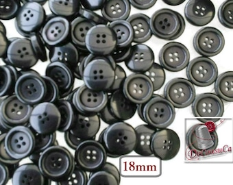 25 Buttons, 18mm, black, 4 holes, vintage button, BA32, (Valeur de 7.50)