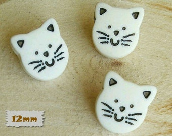 "3 Buttons, Cat, White, 1/2 "", 12mm, Polyester, Casein, Vintage, 1980, Fancy Button, Solid Button, BF50, (Reg 1.80)"