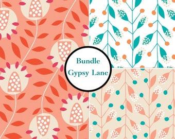 Bundle, 3 prints, Gypsy Lane, 1240602, Camelot Cotton, leaf, coral, peach,