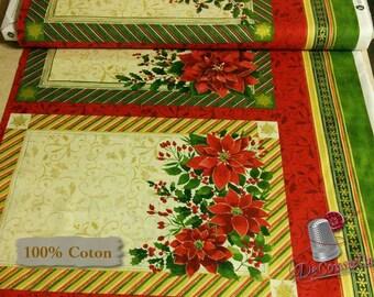 "Doily, 2 placemats, Poinsettia, 12""X20"", (30cm X 50cm) each, Windham Fabrics, 41691, multiple quantity cut in one piece, 100% Cotton,"