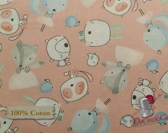 Bear, rabbit, squirrel, Nature, Édition Fabric, multiple quantity cut in one piece, 100% Cotton,