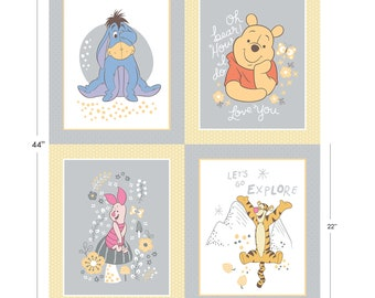 "Disney, Panel, 4 prints, 36"" X 44"", (90cm x 110cm), Winnie the Pooh, 85430108, Camelot Fabrics, 100% Cotton"