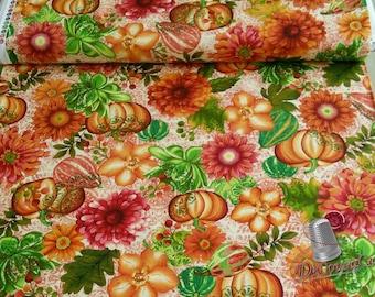 Pumpkin, Flowers, Fall, Fall Festival, Studio e, 4266, multiple quantity cut in one piece, 100% Cotton, (Reg 3.99 - 17.99)