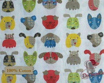 Dog, white, Édition Fabric, multiple quantity cut in one piece, 100% Cotton,