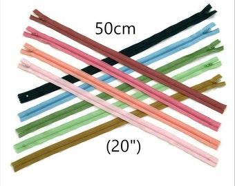 50cm, 20 inchs, #3, YKK, varied color, nylon, perfect for wallets, clothing, repair, liqudation