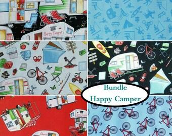 Bundle, 6 prints, Happy Camper, Henry Glass & Co, quilt cotton, cotton designer, 100% cotton