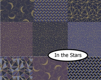 Bundle, 9 prints, Whitten in the stars, Camelot Fabrics, 100% Cotton, quilt cotton