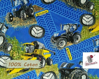 "Tractor, New Holland, Royal Blue, Sykel, 10059, 100% Cotton, 44 ""Wide, (115cm), (Reg 2.99-17.99)"