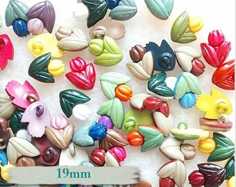 20 Buttons, 19mm, Tulip, plastic, colors mixtes, vintage,