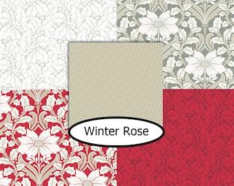5 prints, Winter Rose, Andover,  bundle, 1 of each