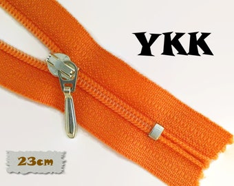 YKK, 23cm, Orange, Zippers, Silver Metal Slider, 3C, Decorative Clasp, Non-Detachable, Z100