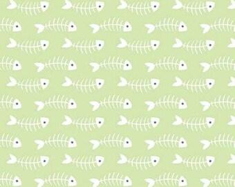 GREEN, Fishbones, Purrfect Day, 9903, Riley Blake, cotton quilt, cotton designer