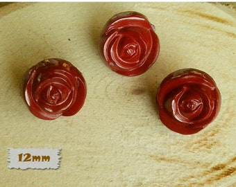 3 Buttons, 12mm, Flower, Rose, Rod, Polyester, Vintage, 1980, Fancy Button, Solid Button, GR04