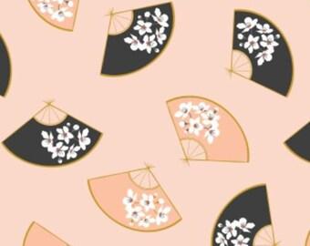 Fan, light orange, 29190104, col 01, Black Swan, Camelot Fabrics, 100% Cotton