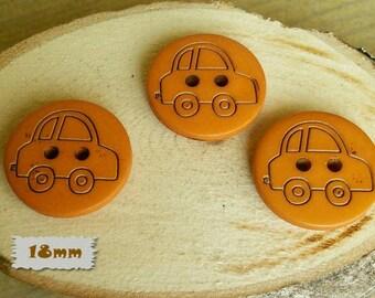3 Buttons, 18mm, Char, Orange, Vintage, 1980s, Basic Button, Solid Button, GR04
