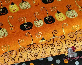 3 prints, Pumpkin, Witchy, Studio E, bundle, 1 of each print, 100% Cotton