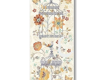 "Panel, Bird Cage, Flowers, 18""X44"", 66190108, Free Spirit, Camelot Fabrics, 100% Cotton"