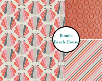 3 prints, The Beach House, Camelot Fabrics, coral, gray, white, multiple quantity cut in one piece, 100% Cotton