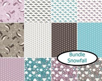 Bundle, 12 prints, Snowfall, Camelot Fabrics, 100% cotton