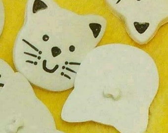 28mm, 2 buttons, Cat, white, Large decorative button, plastic, polymère, BF45