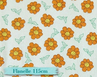 Flower orange, white, flannel, 115cm, 100% cotton