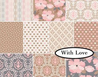 """Bundle, 10 FE, 9""""X22"""", (23cm X 55cm0, 1 of each, With Love, Camelot Fabrics, cotton"""